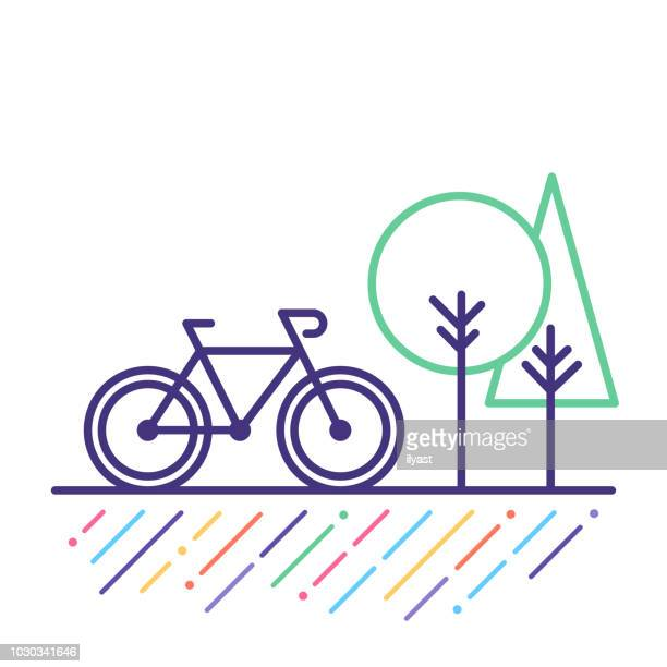 cycling line icon - bicycle stock illustrations