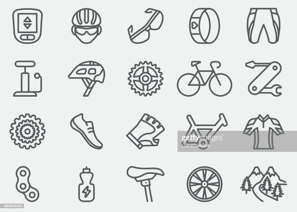 Cycling Line Icons | EPS 10 : stock illustration