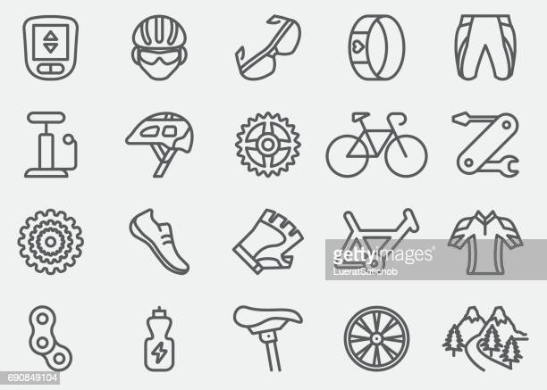 cycling line icons | eps 10 - bicycle stock illustrations
