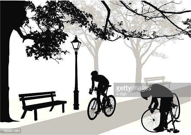 Cycling Path Vector Silhouette