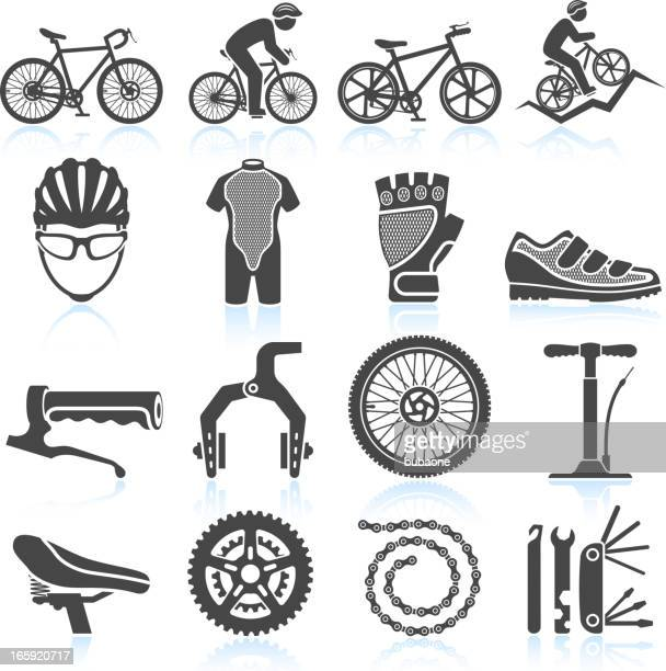 Cycling Racing black & white royalty free vector icon set