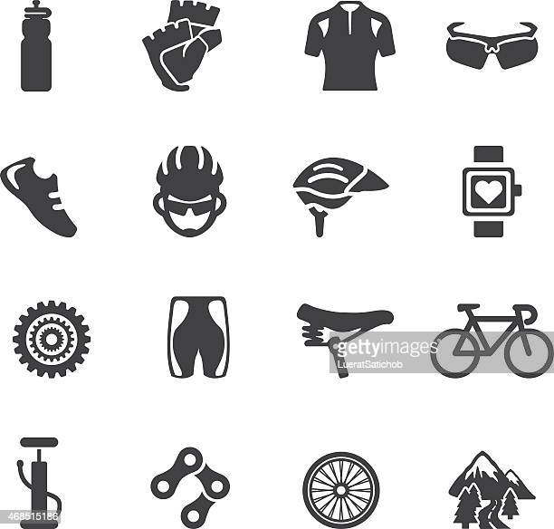 cycling silhouette icons | eps10 - bicycle stock illustrations