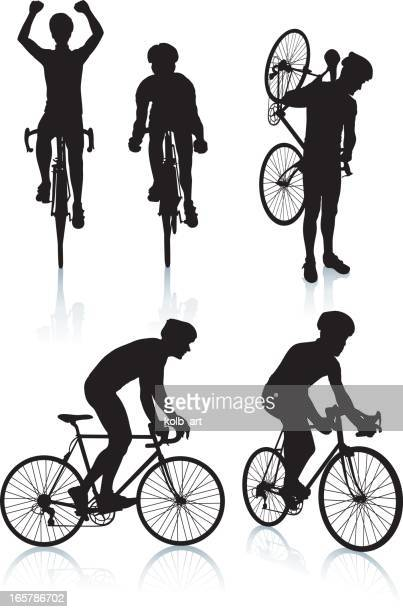 cycling silhouettes 2 - racing bicycle stock illustrations