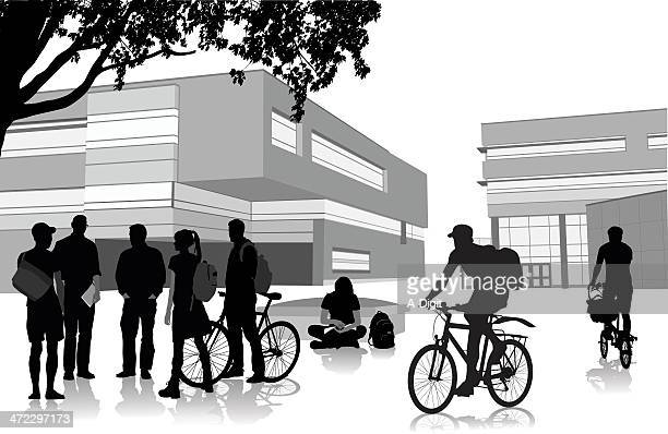 Cycling Students Vector Silhouette