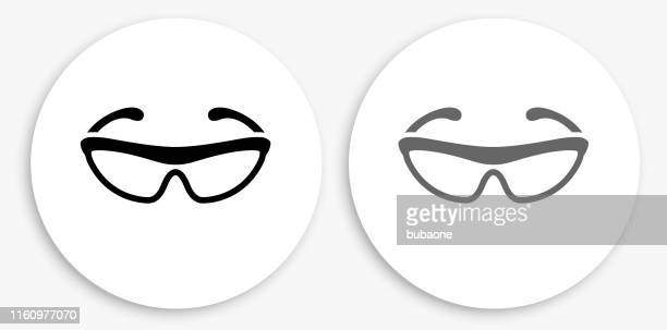 cycling sunglasses black and white round icon - protective eyewear stock illustrations