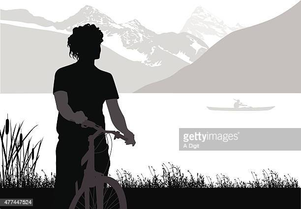 cycling the rockies - lakeshore stock illustrations