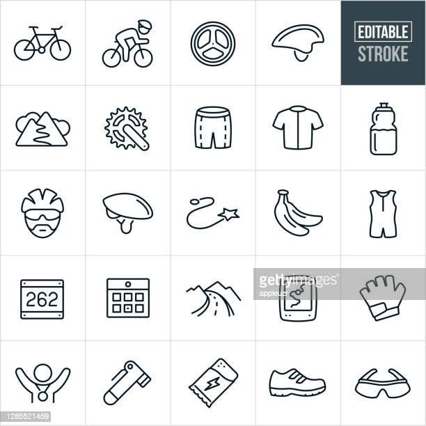 サイクリング細線アイコン - 編集可能ストローク - チームジャージ点のイラスト素材/クリップアート素材/マンガ素材/アイコン素材