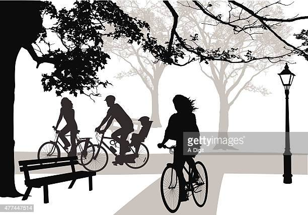 cycling through parks - family cycling stock illustrations, clip art, cartoons, & icons