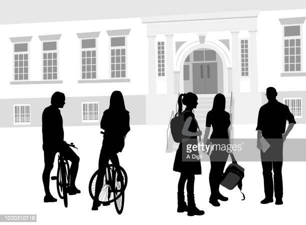 cycling to school classmates - attending stock illustrations