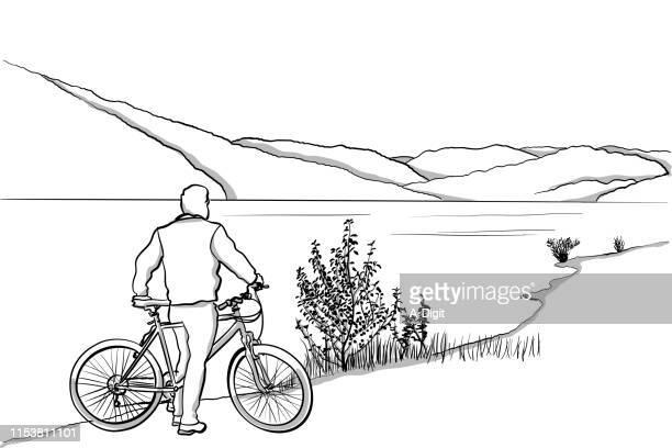 cycling tourist - lakeshore stock illustrations