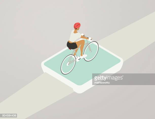 cycling tracker illustration - mathisworks stock illustrations