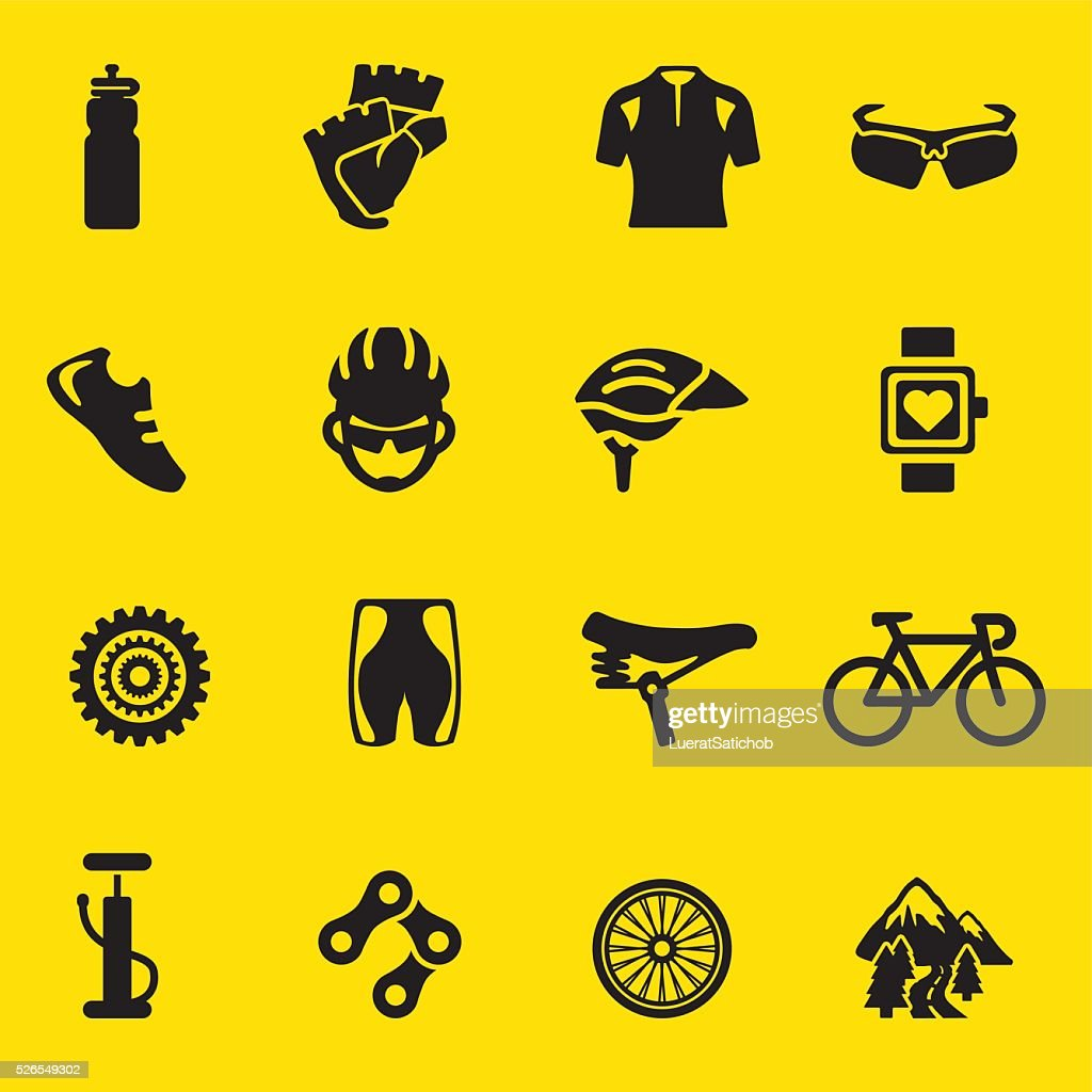 Cycling yellow Silhouette icons   EPS10