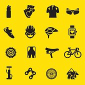 Cycling yellow Silhouette icons | EPS10