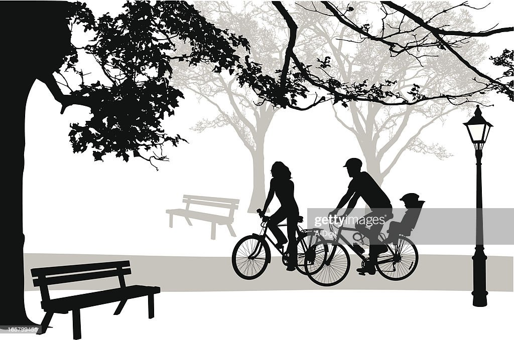 Cycling'n Park Vector Silhouette : stock illustration