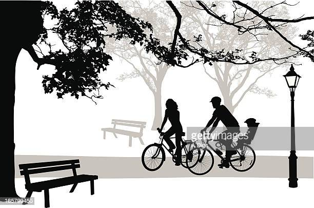 cycling'n park vector silhouette - family cycling stock illustrations, clip art, cartoons, & icons