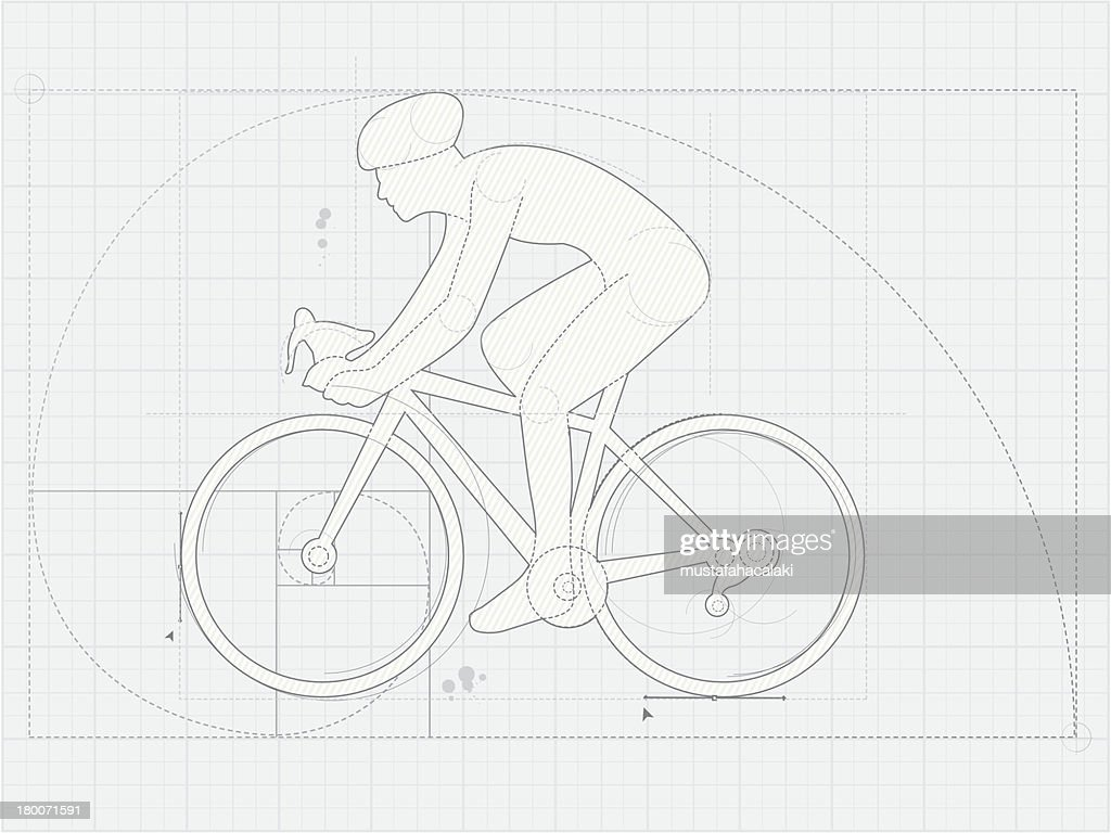 Cyclist drawing on blueprint paper vector art getty images cyclist drawing on blueprint paper vector art malvernweather Images