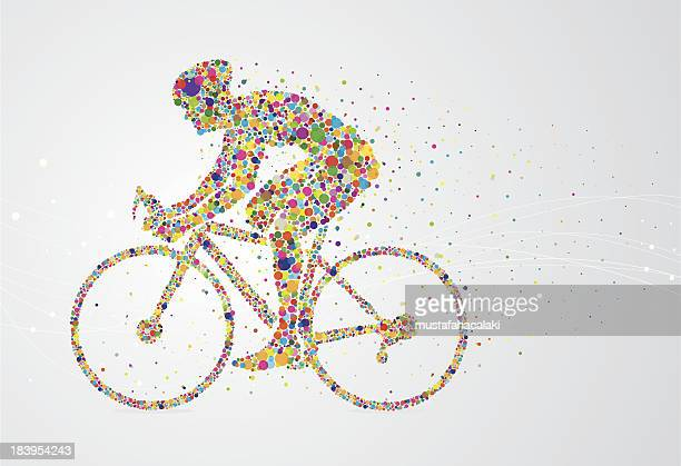 cyclist pixel man - bicycle stock illustrations