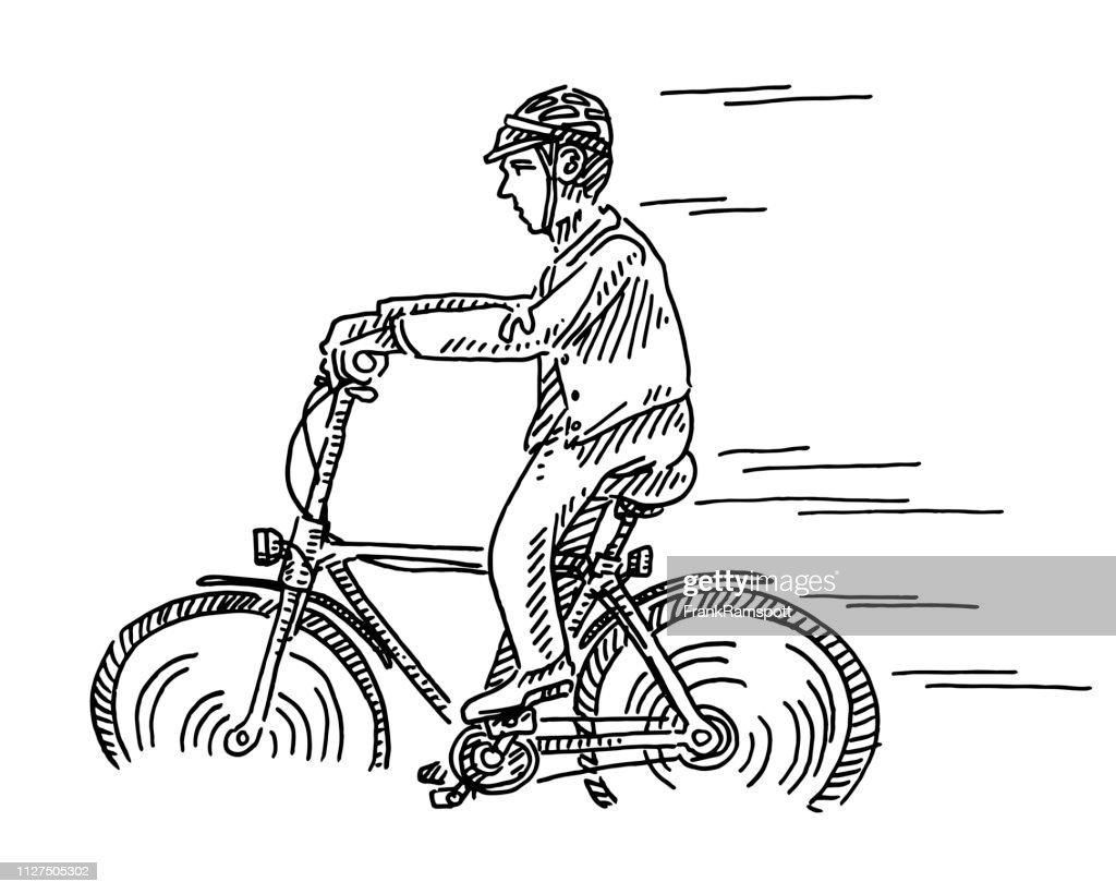 Radfahrer-Seitenansicht Zeichnung : Stock-Illustration