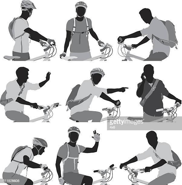 cyclist silhouettes set - bike helmet stock illustrations, clip art, cartoons, & icons