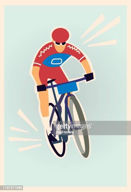 stockillustraties, clipart, cartoons en iconen met wielrenner - wielrennen