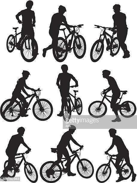 illustrations, cliparts, dessins animés et icônes de cycliste - tenir