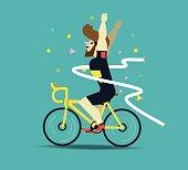 Cyclist winning the race.
