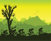 Cyclists in the mountains