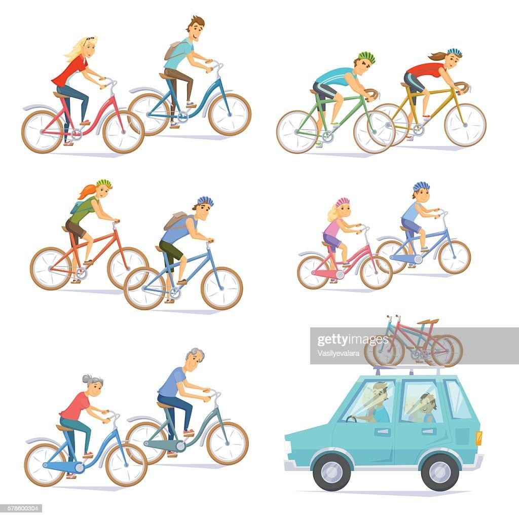 Cyclists on bikes set