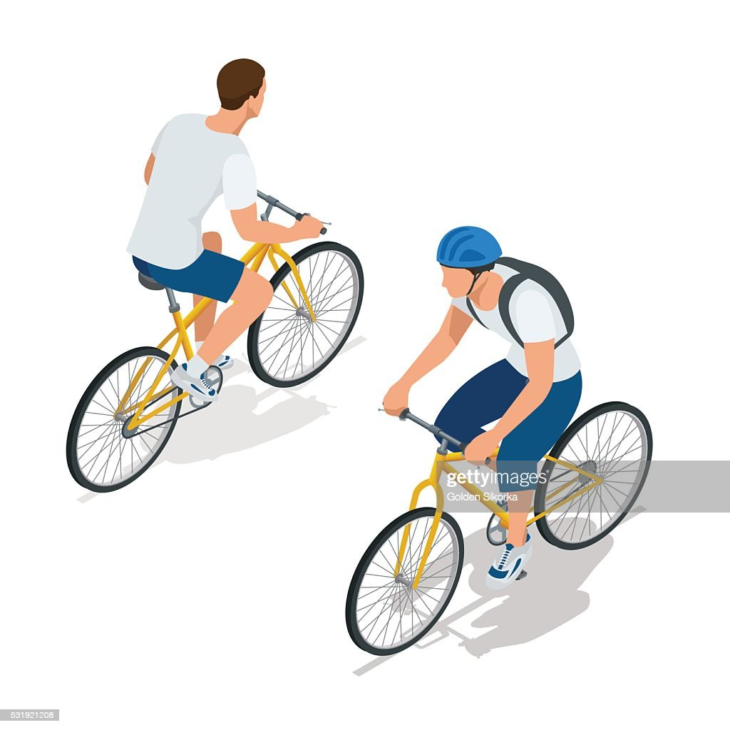 Cyclists on bikes.