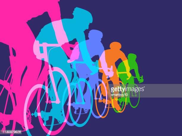 ilustraciones, imágenes clip art, dibujos animados e iconos de stock de ciclistas de carreras - deporte de competición