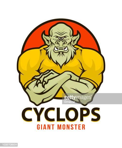 illustrations, cliparts, dessins animés et icônes de mascotte personnage monstre géant cyclope avec bras croisés - cyclope