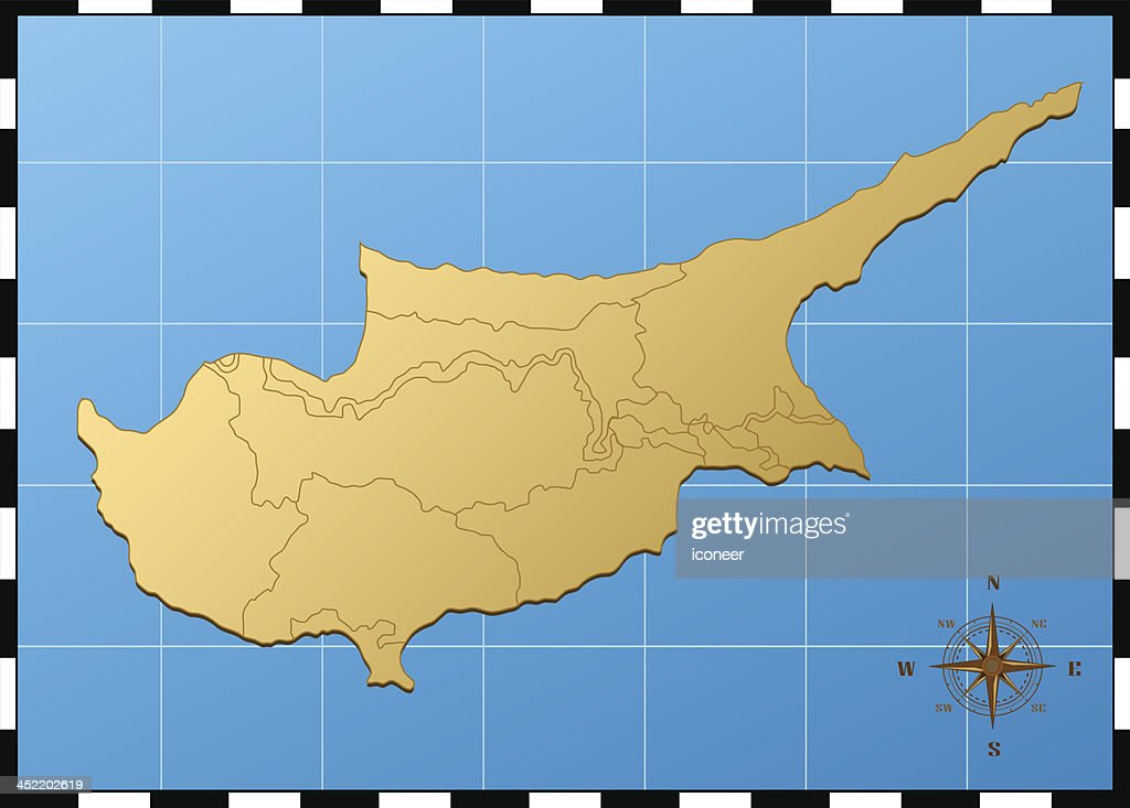Cyprus map with compass rose Vector