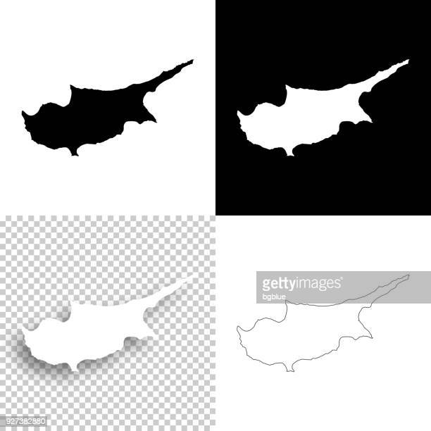 cyprus maps for design - blank, white and black backgrounds - republic of cyprus stock illustrations