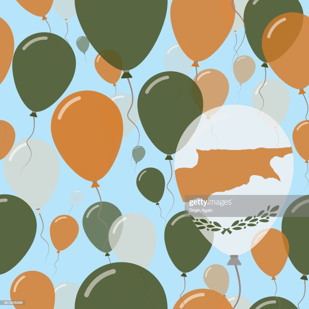 Cyprus National Day Flat Seamless Pattern. Flying Celebration Balloons in Colors of Cypriot Flag. Happy Independence Day Background with Flags and Balloons.