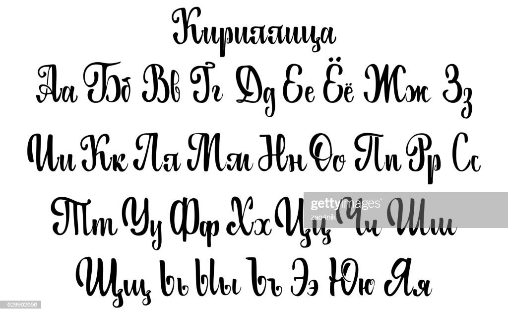 Cyrillic alphabet. A set of lower case letters, written with