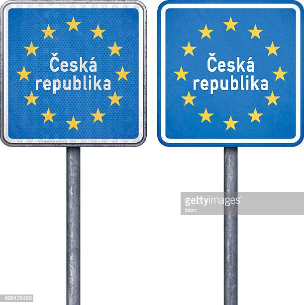 Czech border road sign with European flag