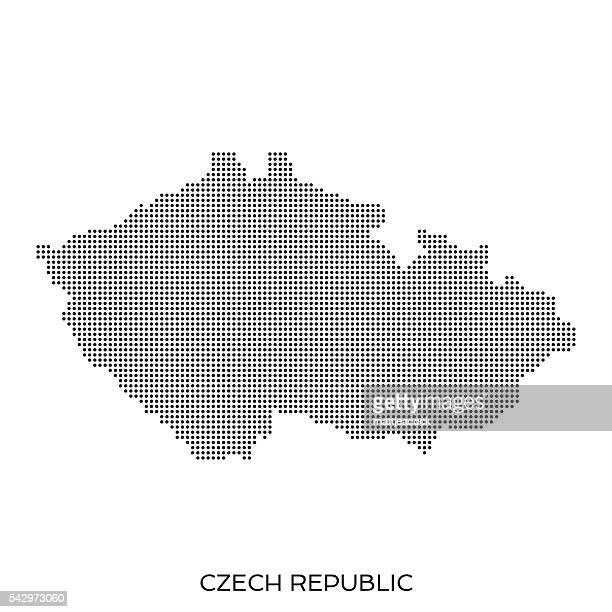 Czech republic dot halftone pattern map