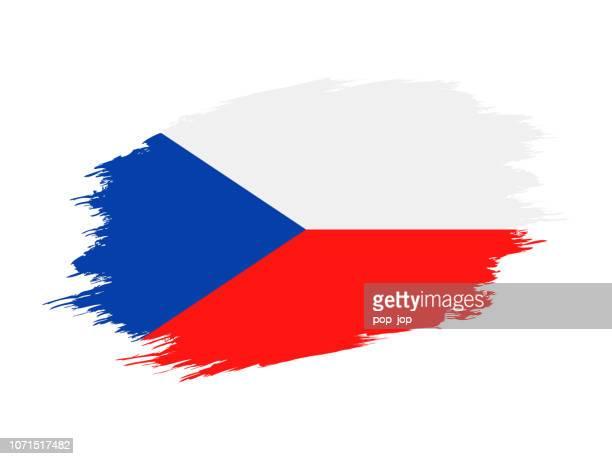 czech republic - grunge flag vector flat icon - prague stock illustrations, clip art, cartoons, & icons