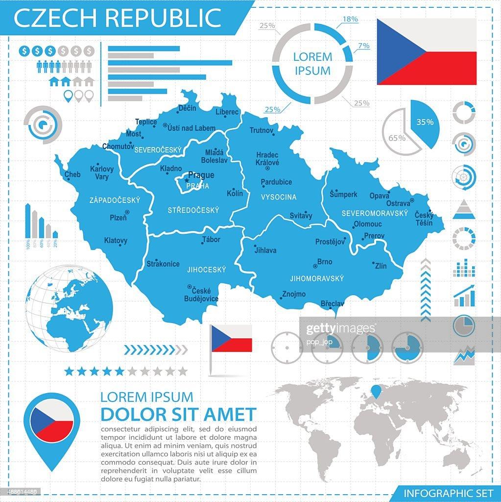Czech Republic Infographic Map Illustration Vector Art Getty Images - Czech republic map