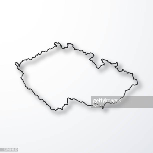 czech republic map - black outline with shadow on white background - czech republic stock illustrations