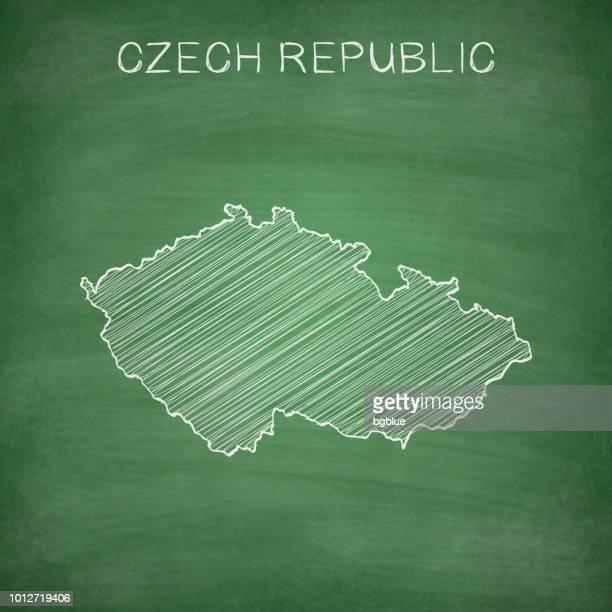 Czech Republic map drawn on chalkboard - Blackboard