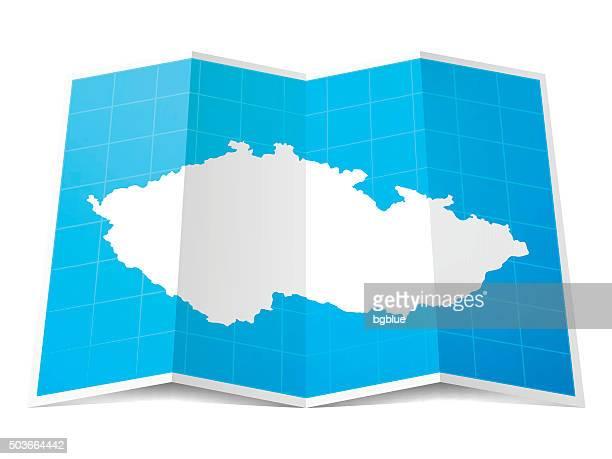 Czech Republic Map folded, isolated on white Background