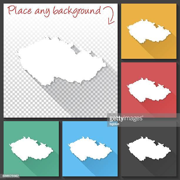 tschechische republik karte für design, langen schatten, flaches design - tschechische republik stock-grafiken, -clipart, -cartoons und -symbole