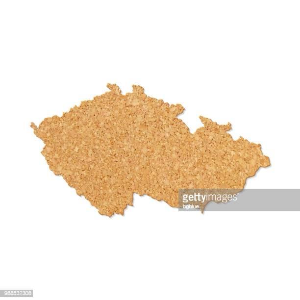 Czech Republic map in cork board texture on white background