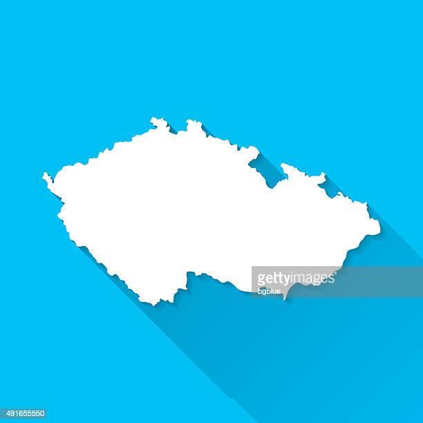 Czech Republic Map on Blue Background, Long Shadow, Flat Design
