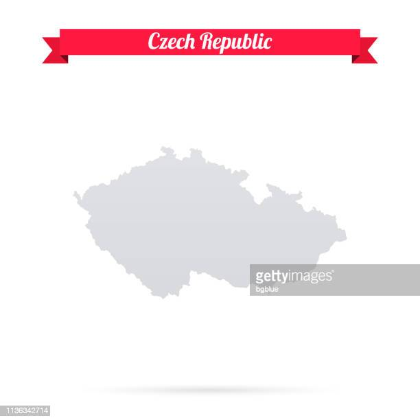 czech republic map on white background with red banner - czech republic stock illustrations