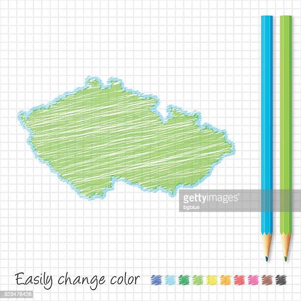 czech republic map sketch with color pencils, on grid paper - prague stock illustrations, clip art, cartoons, & icons