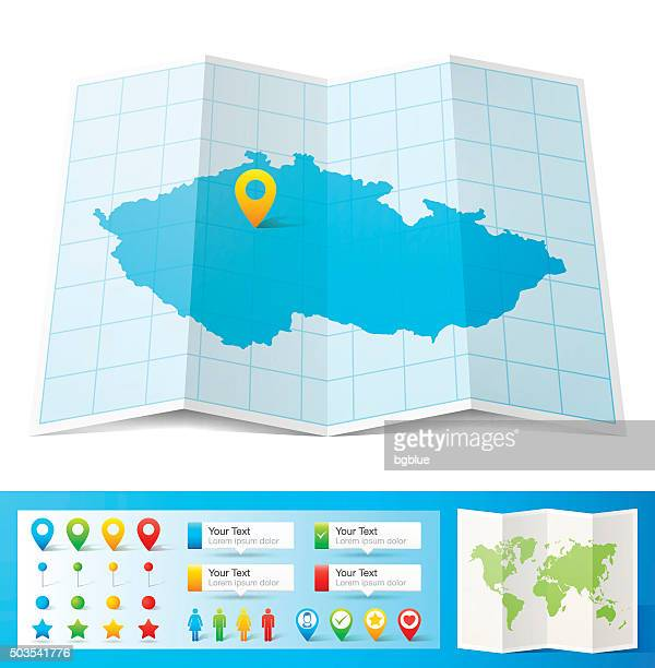 Czech Republic Map with location pins isolated on white Background