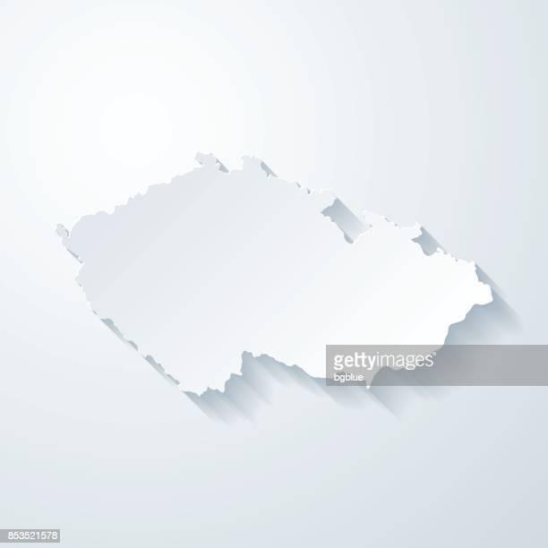 czech republic map with paper cut effect on blank background - czech republic stock illustrations