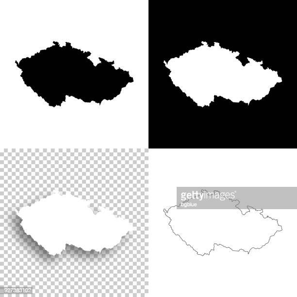 czech republic maps for design - blank, white and black backgrounds - czech republic stock illustrations